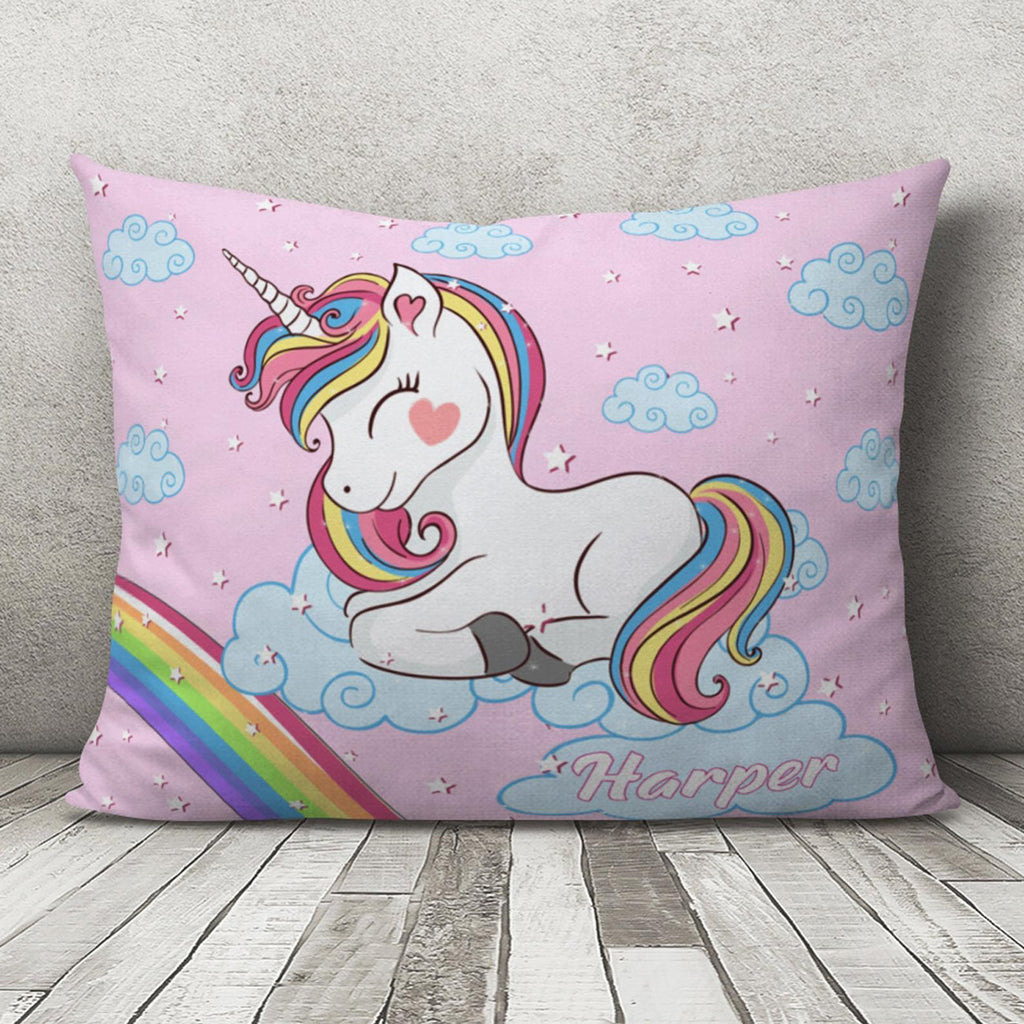 Custom Baby Girl Unicorn Pillow With Name, Personalized Pillow for Baby Girl, Baby Girl Lovey Pillow, Baby Girl Unicorn Pillow