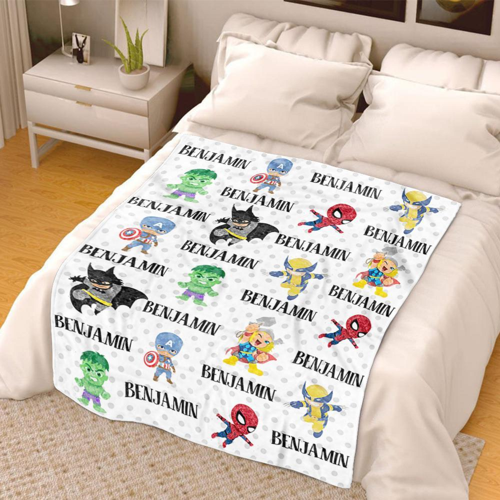 Personalized Name Cartoon Cozy Plush Fleece Blankets III