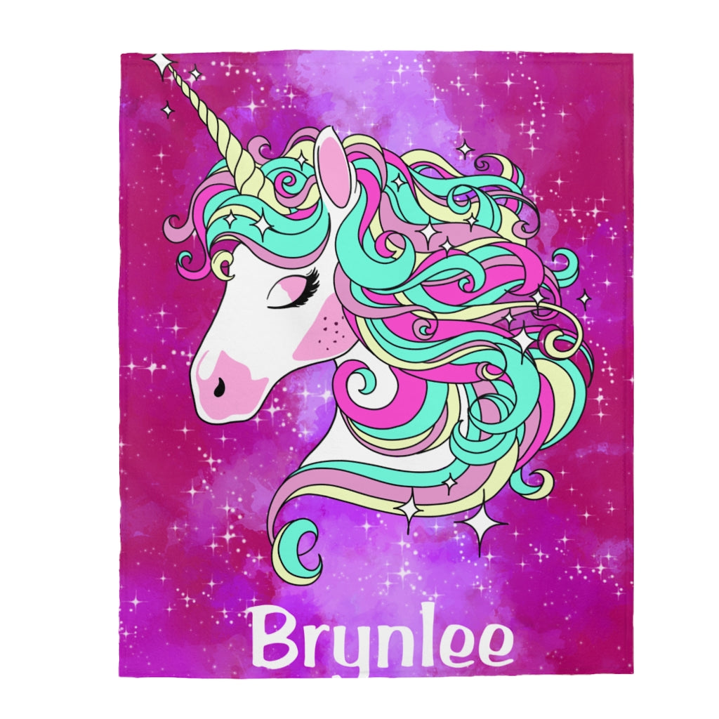 Custom Name Unicorn Velveteen Plush Blanket III - Made in USA