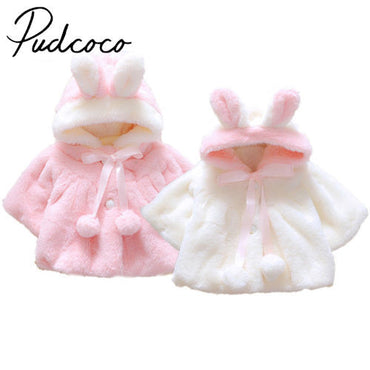 Newborn Baby Girls Fur Winter Warm Coat Outerwear Cloak Jacket Kids Clothes Easter Costume 0-2 Years