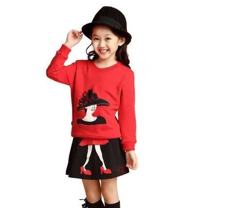 2-10T Teenager Girls Clothes Sets Kids Clothing Sets Shirt Blouses Sweater+Skirt Toddler Winter Warm Costume Children Clothing