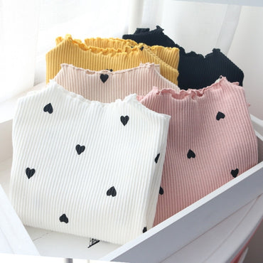 Girls Long Sleeve Tops Sweet Heart Casual Autumn Tops Tee O Neck Regular Toddler Shirts Korean Baby Clothes For 3-8 Years