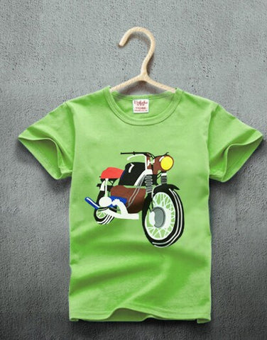 Summer Kids Baby Boy Girl Children O-neck T Shirt motorcycle Print Short Sleeve Cotton T-shirt Tee Tops Clothes