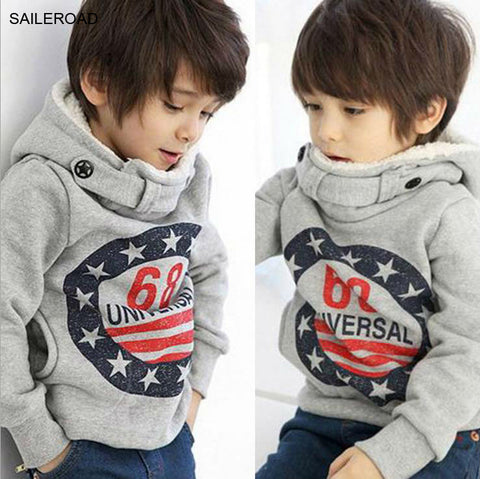 Children Winter Thicker Boys Sweatshirts Coat Long Sleeve Kids Coat Fit 2-7ages for Winter Autumn Kids Sweater Hoodies SAILEROAD