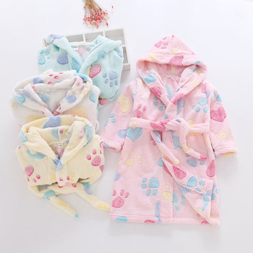 2019 Children's Robes Baby Kids Pajamas Boys Girls Sleepwear Bathrobes Flannel Soft Kids Hooded Cartoon Printing Baby Robes