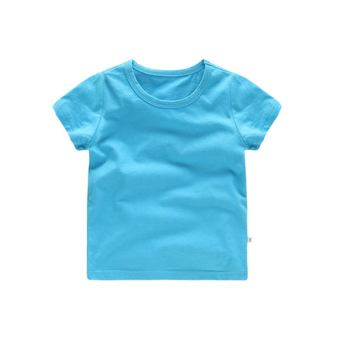 Summer Breathable kids tops for girls Solid Color Pure Cotton t-shirt for boy 2019 Brief O collar short sleeves child clothes