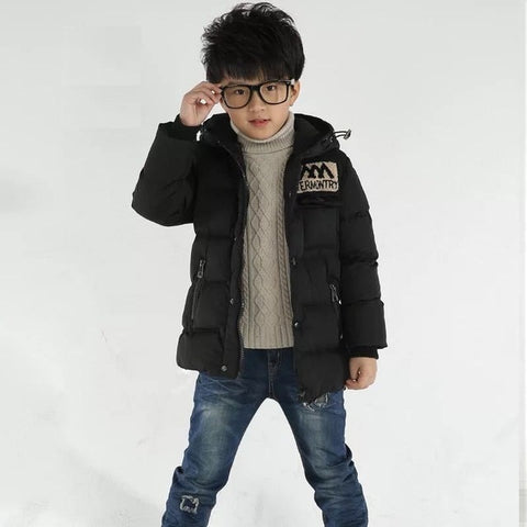 Baby autumn and winter new warm clothing children's jacket thickening plus velvet padded jacket boy hooded jacket boy warm jacke
