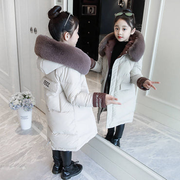 Girls cotton winter 2019 new children's cotton coat cotton girls Korean version of the long section of cotton clothing