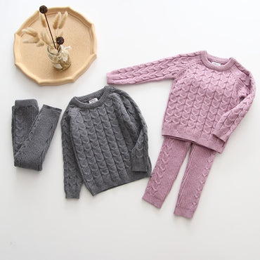 Baby Boys Girls Clothing Sets Fall Winter Sweater + Pants Infant Boys Knit Tracksuits Toddler Girls Boys Suit Hoodies Pants Set