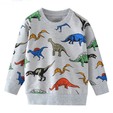 SAILEROAD Cartoon Dinosaur Boys Sweatshirts for Little Kids Hoodies Clothes 2-7Years Autumn Children Long Sleeve Shirts Cotton
