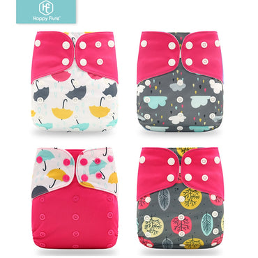 Happyflute 2019 New 4pcs/set Washable Cloth Diaper Adjustable Nappy Reusable Cloth Diapers Available 0-2years 3-15kg baby