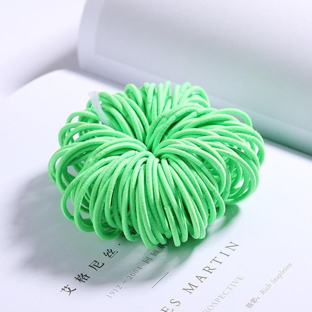 100PCS/Lot New Girls Candy Colors Nylon 3CM Rubber Bands Children Safe Elastic Hair Bands Ponytail Holder Kids Hair Accessories