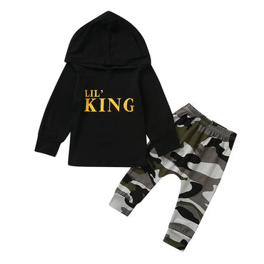 Toddler Kids Baby Boy Letter Hoodie T Shirt Tops+ Camo Pants Outfits Clothes Set  Children's suit High Quality