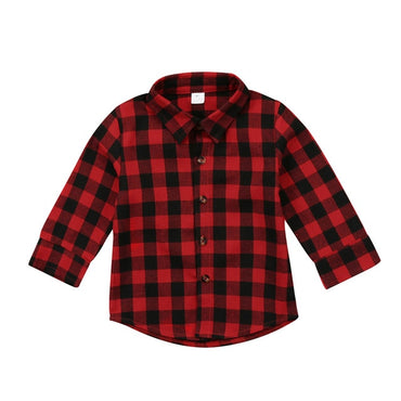 Toddler Kid Baby Boy Girl Printed Plaid Tops Long Sleeve T-shirt Clothes Baby Girl Clothes Red Plaid Shirt Coat For Baby Girl