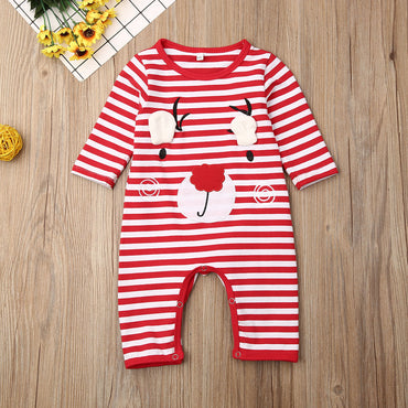 Pudcoco Newborn Baby Boy Girl Clothes Cotton Striped Christmas Print Romper Jumpsuit One-Piece Outfit Playsuit Clothes