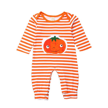Halloween Newborn Baby Romper Clothes Infant Boy Girl Pumpkin Striped Long Sleeve Jumpsuit Overall Causal One-Piece Outfit 0-18M