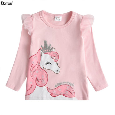 Dxton Baby Girls T Shirt Long Sleeve Tshirt for Kids Applique Unicorn Tees Cotton Children Winter Clothing Girls Cartoon Costume