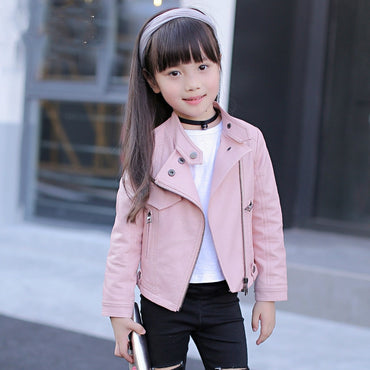 Girls Pu (Jackets & Coats Rivet Zipper Cool Jacket Leather Clothing for Girls Outerwear & Coats Collar Zipper Leather Clothing