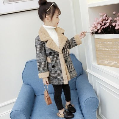 Girls Outerwear & Coats Fashion Plaid Turndown Collar Woolen Winter Jacket For Girls 5 6 7 8 9 10 Years Teenagers Velvet Clothes