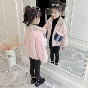 Style Winter Coats For Girls Baby Girls Warm Fur Bunny Wool Coats High Quality Girls Outerwear & Coats Children Toddler Top 4-12