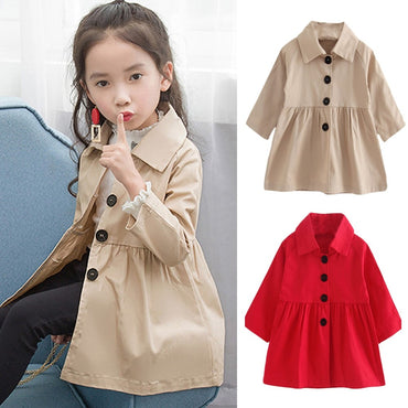 .Stylish and fashion design   very beautiful Children Baby Coat Autumn Jacket Outerwear Pure Color Windbreaker Clothes