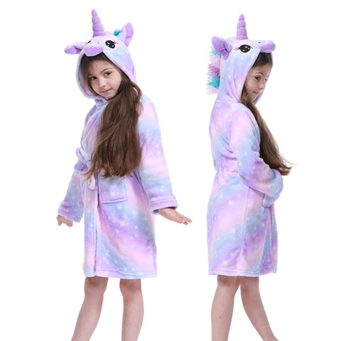 Toddler Kid Boys Girls Flannel Hooded Bathrobes Kids Rainbow Unicorn Bath Robe Nightgown Pajamas Sleepwear Children Home Clothes