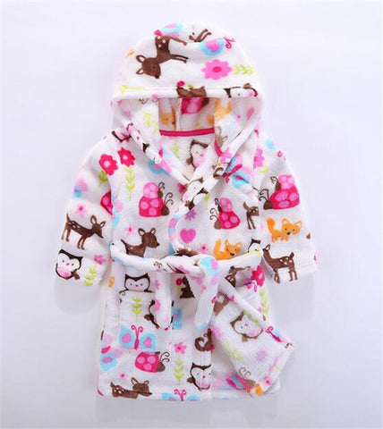2019 New Soft Children's Robes for 2-6Yrs Baby Kids Pajamas Boys Girls Cartoon Sleepwear Bathrobes Kids Hooded Baby Robes 1PCS