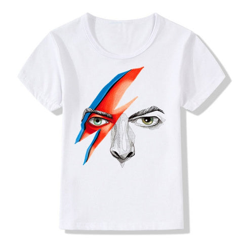 Boy and Girl Print Rock Bowie David Bowie Ziggy Stardust Vintage Fashion T-shirt Children Tshirts Kids Tops Tee Baby Clothes