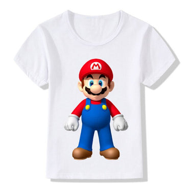 Dabbing Super Mario Cartoon Design Funny Children's T-shirts Kids Casual Clothes Toddler Tops Came Tees For Boys Girls,ooo5141