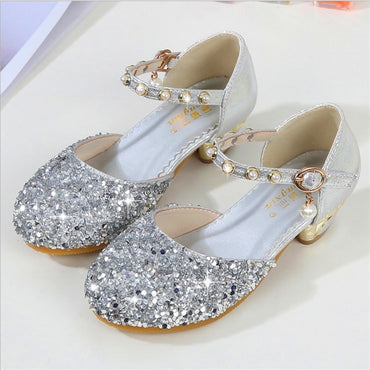 24#-35# Girl's sandals 2019 new children's fashion bag head crystal shoes baby silver performance kids high heel princess shoes