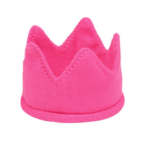 Fashion Autumn Winter Soft Warm Knitted Cap Fitted Newborn Kids Caps Baby Crown Knitted Birthday Hat Photography Accessories