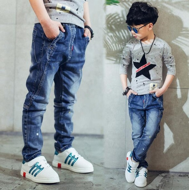 Boy's  jeans, Children's clothing boys jeans spring and autumn splash-ink children pants 3 4 5 6 7 8 9 10 11 12 13 14 years old