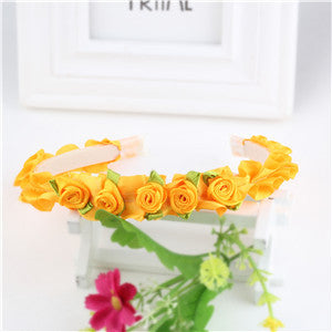 M MISM New Arrival Hair Accessories Lovely Ribbon With Rose Flower Head Band 8 Colors Choose Children Headwear Hair Hoop Bow