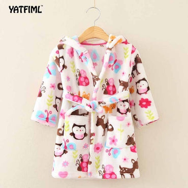 YATFIML 2017New Soft Children's Robes for 2-6Yrs Baby Kids Pajamas Boys Girls Cartoon Sleepwear Bathrobes Kids Hooded Baby Robes