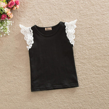 Infant Kids Cotton T-Shirt Baby Girls Princess Lace Summer Tops T-Shirt Solid White Green Pink Black Purple Sleeveless Shirt USA