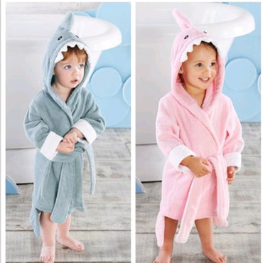 2-6 year Baby Robe Cartoon Hoodies Girl Boys Sleepwear Good Quality Bath Towels Kids Soft Bathrobe Pajamas Children's Clothing