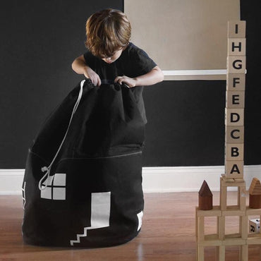 White Black House Buggy Bag Kids Clothes Toys Shoes Mommy Bag Decoration Mom Bag Cotton Canvas Cubic Drawstring Sundries Bag