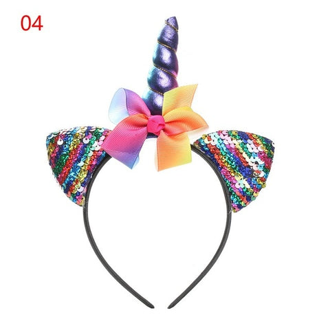 1 PC Christmas Tiara Glitter Metallic Rainbow Unicorn Horn headband headwear for girls unicorn party For kids Hair Accessories