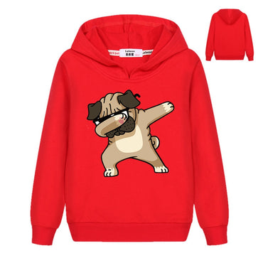 Dabbing Animals Sweatshirt Emoji Dog Printed Kids Tops For Boys Girls Pullover Enjoy Pugs Hoodies Hip Hop Basic Coat 2019 Spring