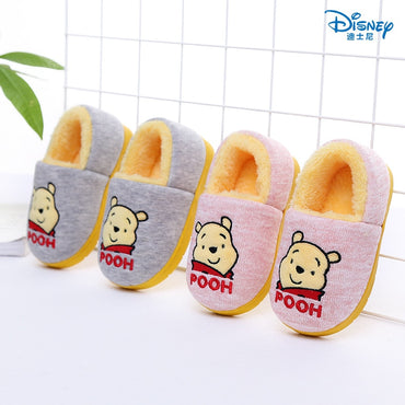 Disney children's warm cotton shoes 2018 winter new bear boy home non-slip bag with parent-child cotton slippers