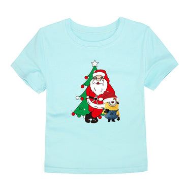 New Christmas Baby Girls Boys T Shirts Kids Cotton Christmas T-Shirts Santa Claus Tees Kids Summer Tops for 1-14Years