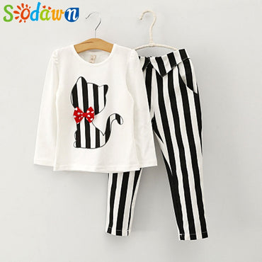 Sodawn Autumn Baby Girl Clothes Cat Cartoon Long-Sleeve T-Shirt + Stripe Legging Suit Girls Clothing Set  Children Clothing