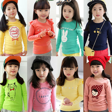 2018 Spring Autumn For 2-8 9 10 Years Children Tops Tees Cotton Cartoon Print Basic Little Baby Kids Girls Long Sleeve T Shirts