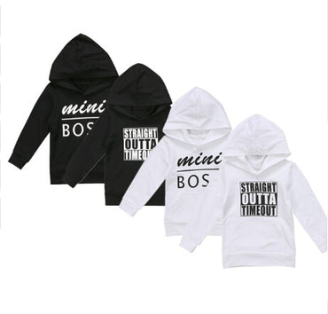 Baby Boys Girls Hoodie Sweatshirt Toddler Letters Outta Mini Boss Hooded Sweatshirt Outfit Clothes 0-5Y