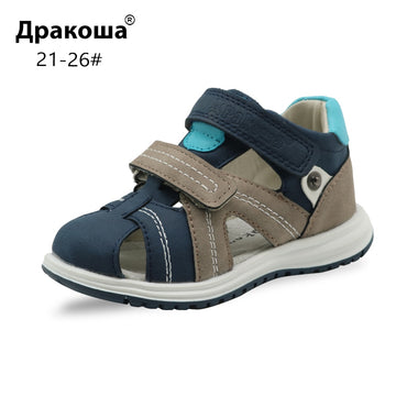Apakowa Unisex Baby Boys Closed Toe Sandals Kids Soft Leather Walking Sandal Adjustable Shoes for Beach Travel Sports Activities