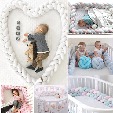 2M Length Baby Bed Bumper 4 Braids Baby Bed Decor Pure Weaving Plush Knot Crib Bumper Protector Infant Room Decor