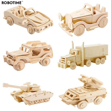 Robotime DIY 3D Wooden Car Truck Puzzle Game Children Kids Natural Color Toy Model Building Kits Educational Hobbies Gift JP237