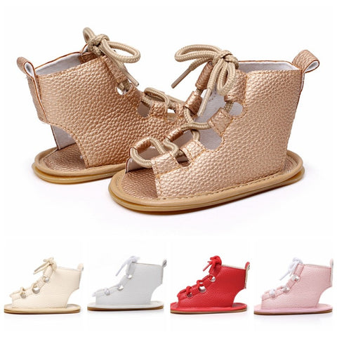 Summer Baby Girl Sandal Pu Leather Lace Up Baby Peep Toe Flat Brand Toddler Beach shoes Sandals & Clogs