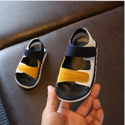children's Sandals High quality Kids Shoes Baby Boy Girl Patchwork Summer Beach sport Soft leather Sandals Shoes Sneakers