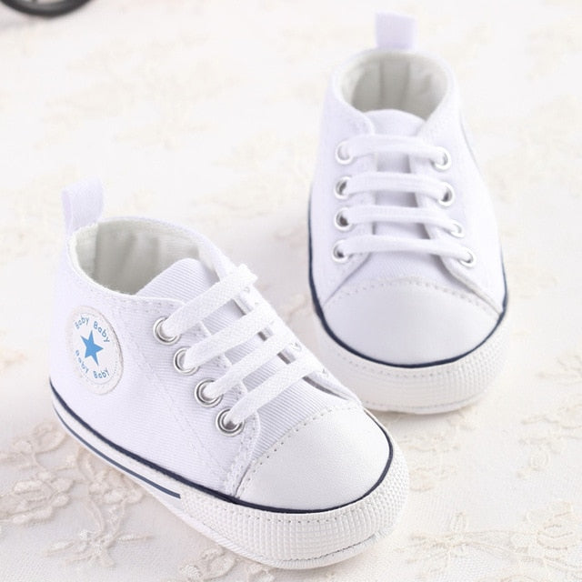 Newborn Baby Boy Girl Pram Shoes Toddler White Sneakers Casual Soft Comfortable Lace-Up Cute Trainer 0-18M